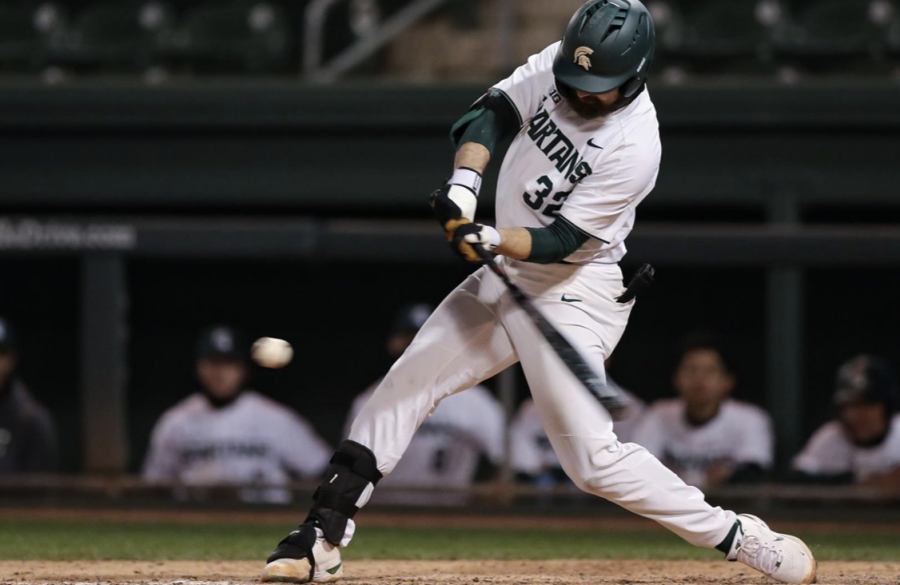 MSU first baseman/ pitcher Zach Iverson swings at a pitch/ Photo Credit: Jeremy Fleming/MSU Athletic Communications