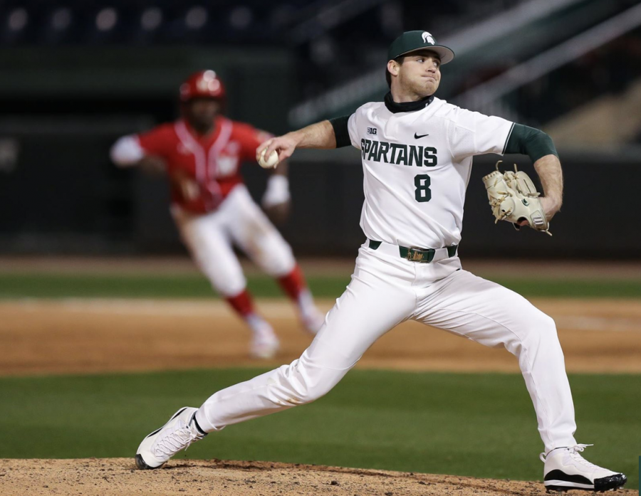 MSU+pitcher+Sam+Benschoter+delivers+a+pitch+against+Maryland%2FPhoto+Credit%3A+Jeremy+Fleming%2F+MSU+Athletic+Communications%0A%0A