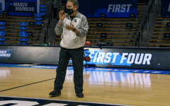 MSU head coach Tom Izzo watches his team during practice before the first game of the NCAA Tournament/ Photo Credit: MSU Athletic Communications