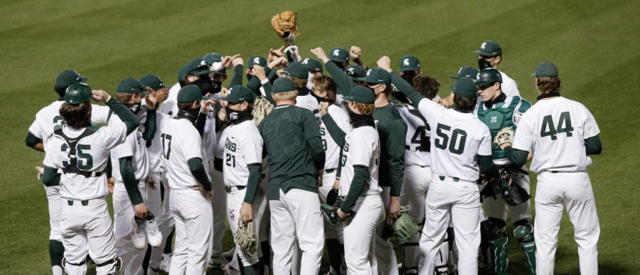 The MSU baseball team meets together before a game/ Photo Credit: MSU Athletic Communications