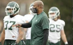 MSU coach Mel Tucker supervises the first day of spring practice/ Photo Credit: MSU Athletic Communications
