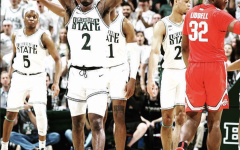 MSU guard Rocket Watts celebrates after the Spartans knock off No. 19 Ohio State 80-69 to click the Big Ten regular season crown in 2020/ Photo Credit: MSU Athletic Communications