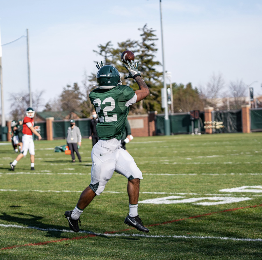 MSU running back Jordon Simmons catches a pass during spring practice/ Photo Credit: MSU Athletic Communications