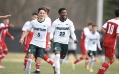 MSU defender Will Perkins celebrates after scoring a goal in the Spartans 4-1 win over Wisconsin/ Photo Credit: MSU Athletic Communications