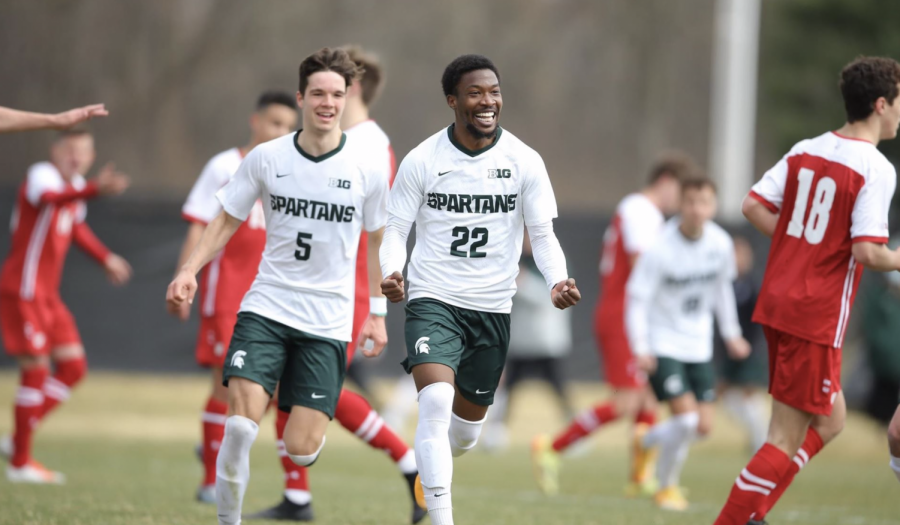 MSU defender Will Perkins celebrates after scoring a goal in the Spartans' 4-1 win over Wisconsin/ Photo Credit: MSU Athletic Communications