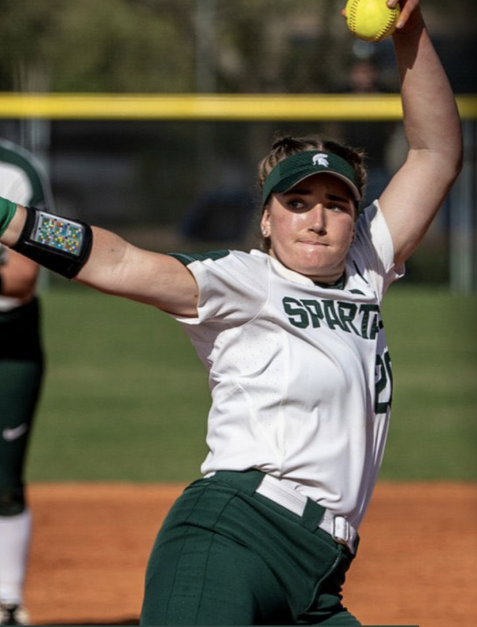 MSU pitcher Sarah Ladd winds up for a pitch during a game/ Photo Credit: MSU Athletic Communications