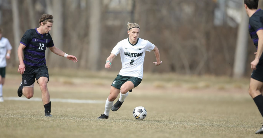 MSU midfielder Jack Beck kicks the ball in the Spartans' 3-0 win vs/ Northwestern/ Photo Credit: MSU Athletic Communications