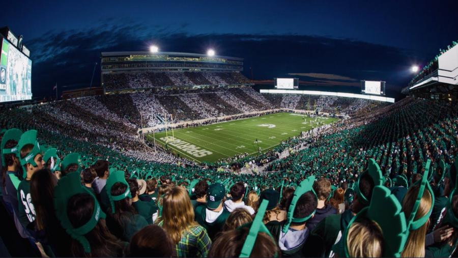 A full Spartan Stadium at night/ Photo Credit: MSU Athletic Communications
