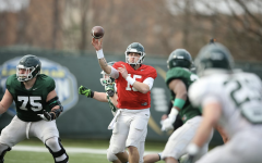 MSU quarterback Anthony Russo winds up for a throw during spring practice/Photo Credit: MSU Athletic Communications