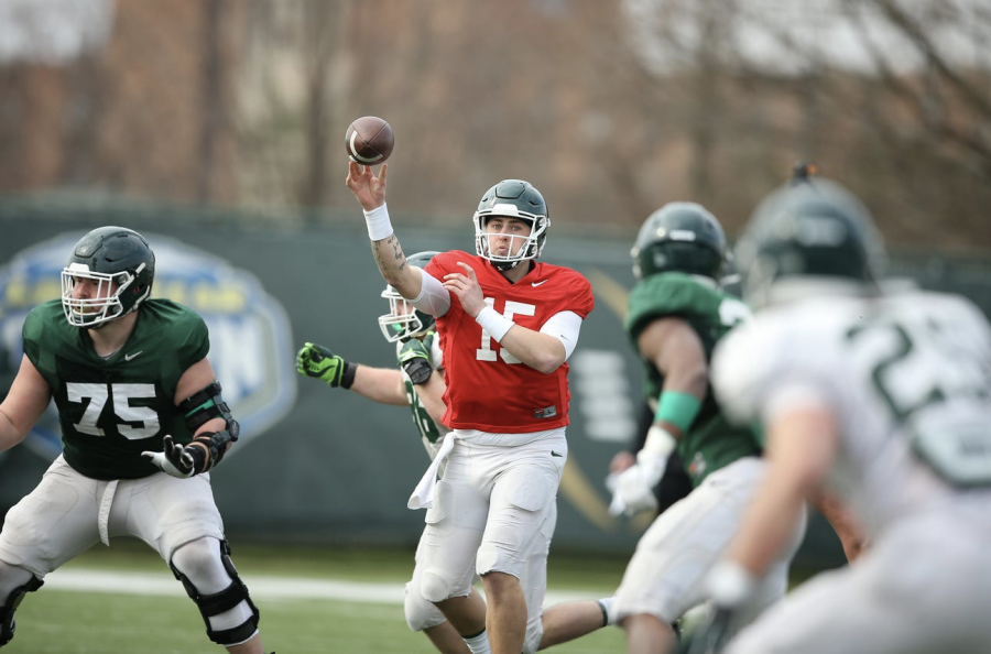 MSU+quarterback+Anthony+Russo+winds+up+for+a+throw+during+spring+practice%2FPhoto+Credit%3A+MSU+Athletic+Communications%0A%0A%0A