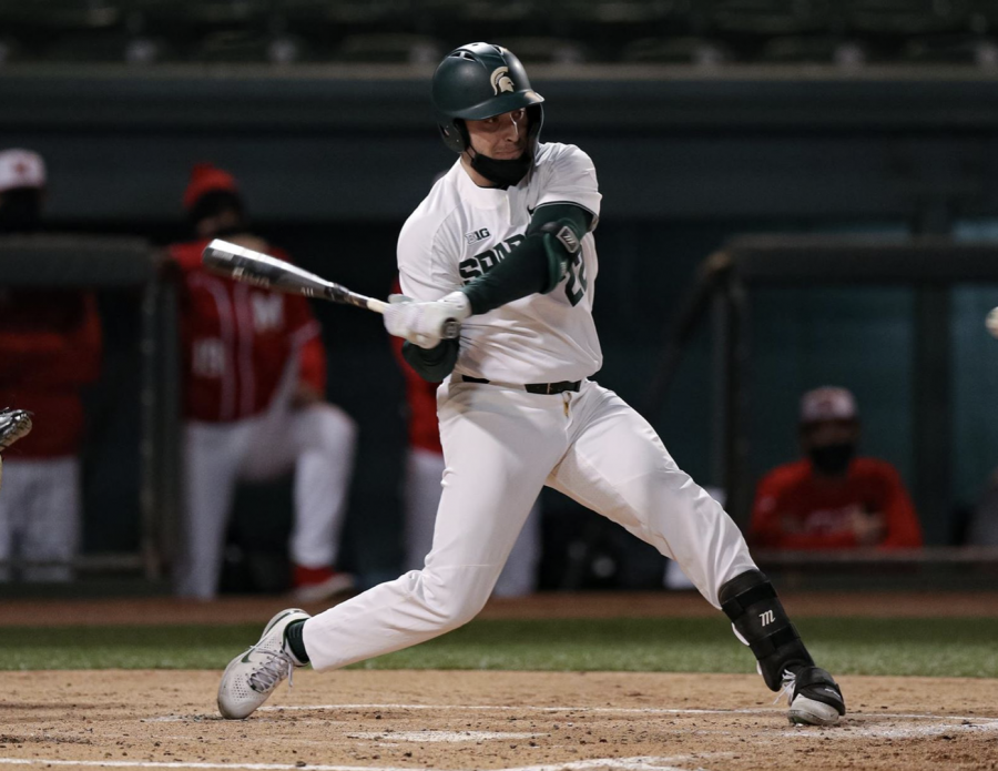 MSU infielder Bailey Peterson swings during a game/Photo Credit: MSU Athletic Communications