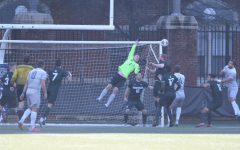 MSU goalie Hunter Morse skies to make a leaping save/ Photo Credit: MSU Athletic Communications