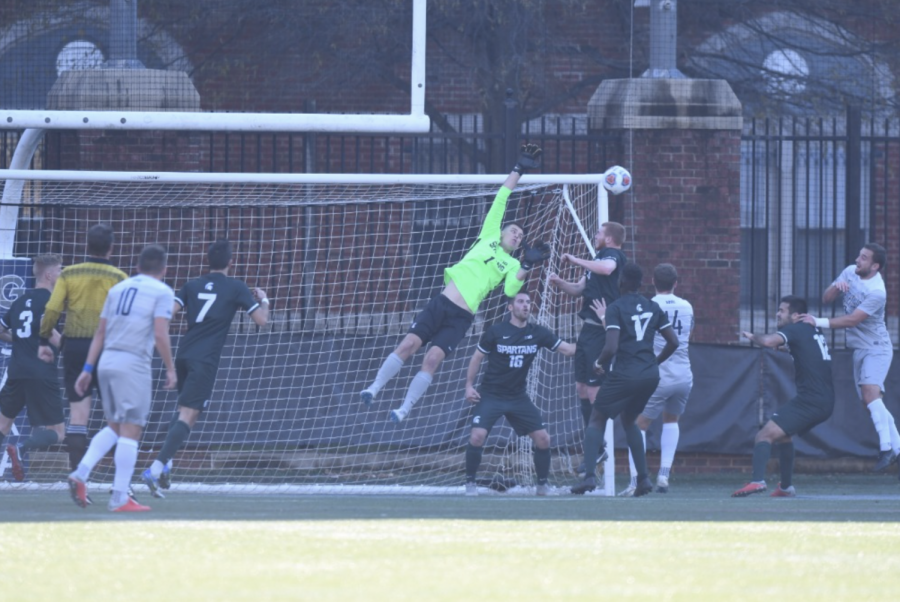 MSU+goalie+Hunter+Morse+skies+to+make+a+leaping+save%2F+Photo+Credit%3A+MSU+Athletic+Communications+%0A%0A%0A