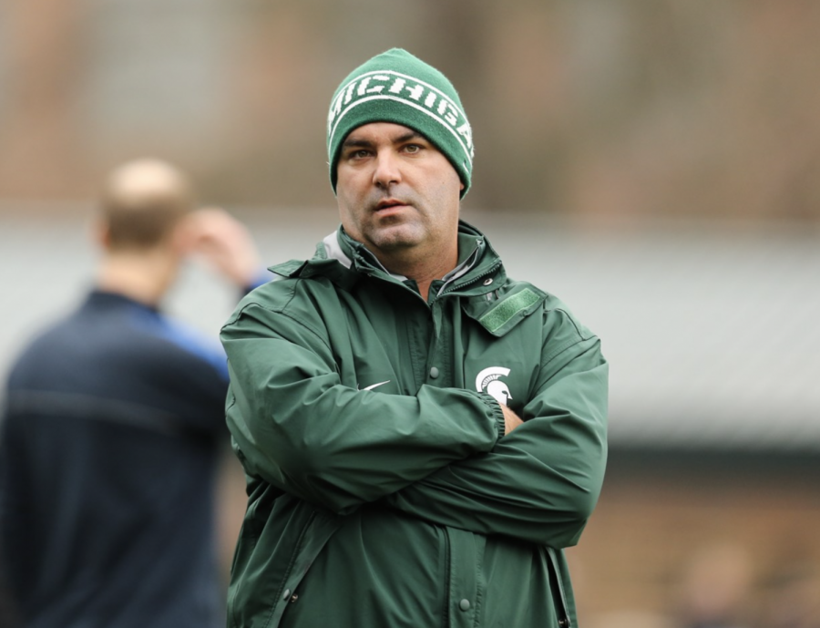 MSU head coach Damon Rensing during a home soccer game/ Photo Credit: MSU Athletic Communications