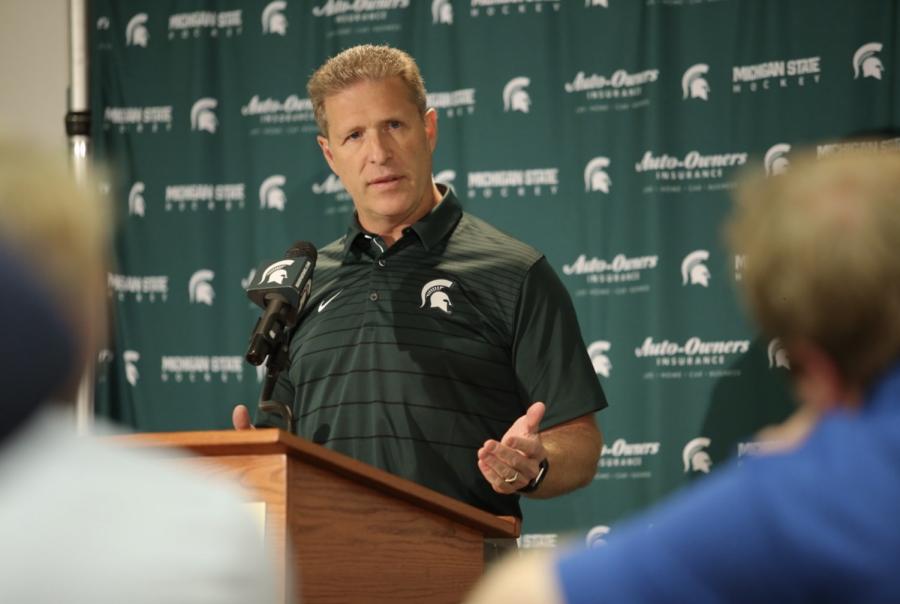 MSU head coach Danton Cole talks with the media/ Photo Credit: MSU Athletic Communications