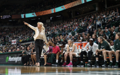 MSU head coach Suzy Merchant calls out directions to her team during a game/ Photo Credit: MSU Athletic Communications