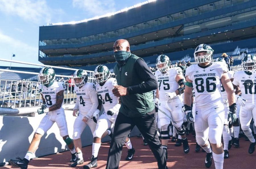 MSU+head+coach+Mel+Tucker+leads+his+team+out+of+the+tunnel+against+No.+13+Michigan+on+Oct.+31%2C+2020%2F+Photo+Credit%3A+MSU+Athletic+Communications%0A%0A