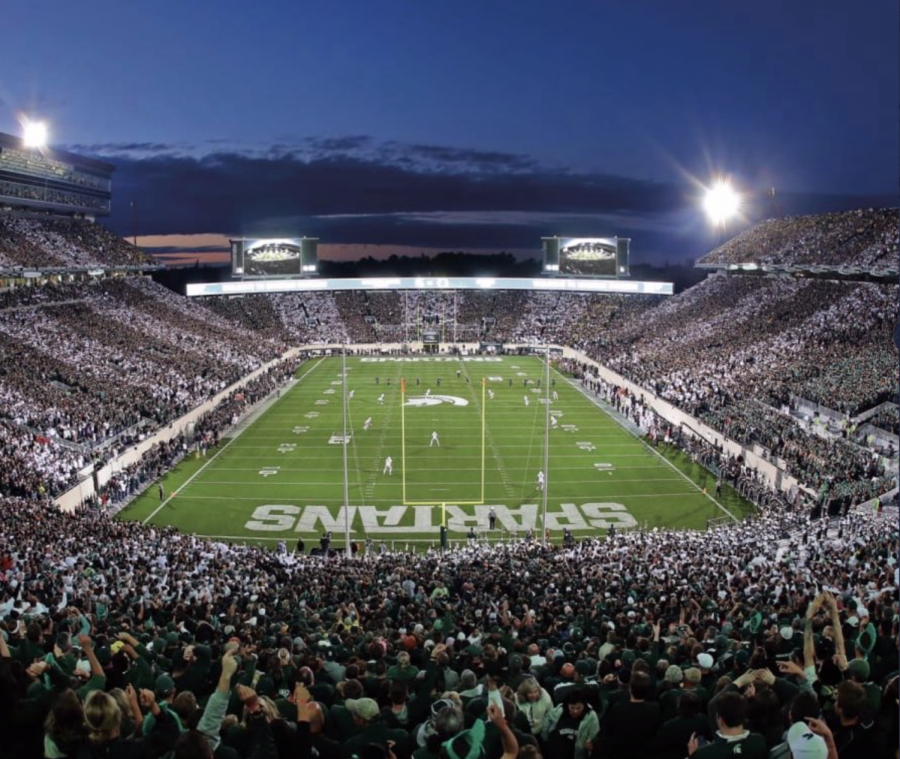 A crowded Spartan Stadium at night/ Photo Credit: MSU Athletic Communications