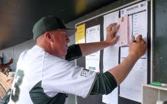 MSU manager Jake Boss  sets his teams lineup/ Photo Credit: MSU Athletic Communications