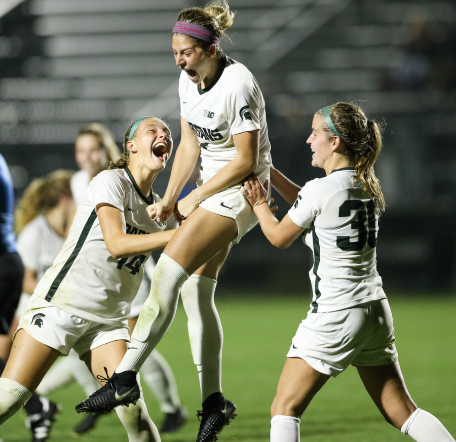 MSU+forward+Gia+Wahlberg+celebrates+after+scoring+the+game-winning+overtime+goal+against+Bowling+Green+on+Sept.+12%2C+2019%2F+Photo+Credit%3A+MSU+Athletic+Communications%0A