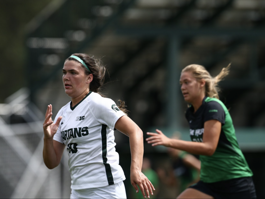 MSU+forward+Camryn+Evans+sprints+to+the+ball+against+Marshall+in+2019%2F+Photo+Credit%3A+MSU+Athletic+Communications%0A