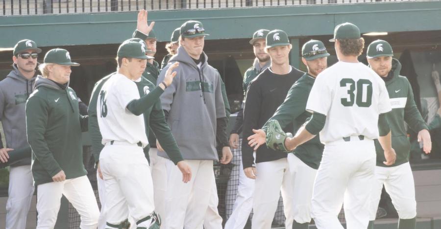 MSU pitcher Mason Erla (30) trots to the dugout/ Photo Credit: MSU Athletic Communications