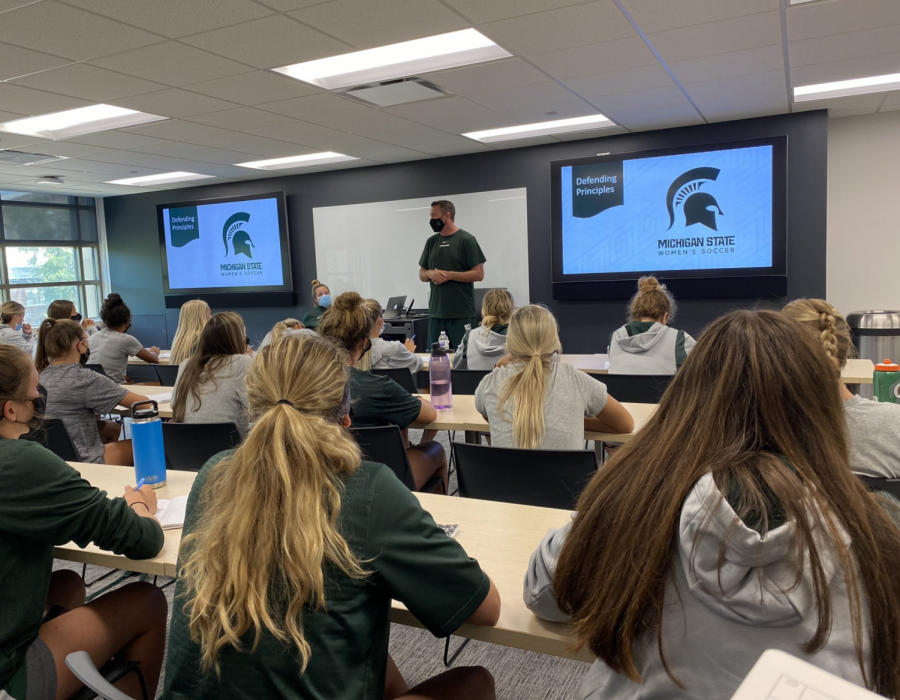 MSU+head+womens+soccer+coach+Jeff+Hosler+meets+with+his+team+before+the+start+of+the+2021+season%2F+Photo+Credit%3A+MSU+Athletic+Communications+