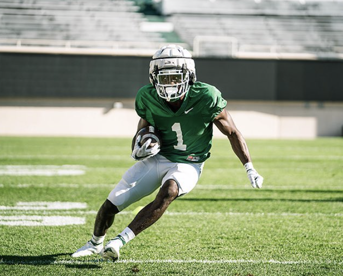 MSU wide receiver Jayden Reed breaks free during a fall scrimmage/ Photo Credit: MSU Athletic Communications