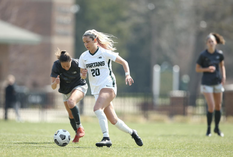 MSU sophomore defender Zivana Labovic propels the Spartan offensive attack in a 3-0 against Eastern Michigan on Aug. 22, 2021
