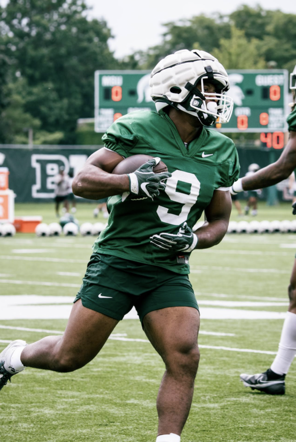 MSU running back Kenneth Walker during fall practice/ Photo Credit: MSU Athletic Communications