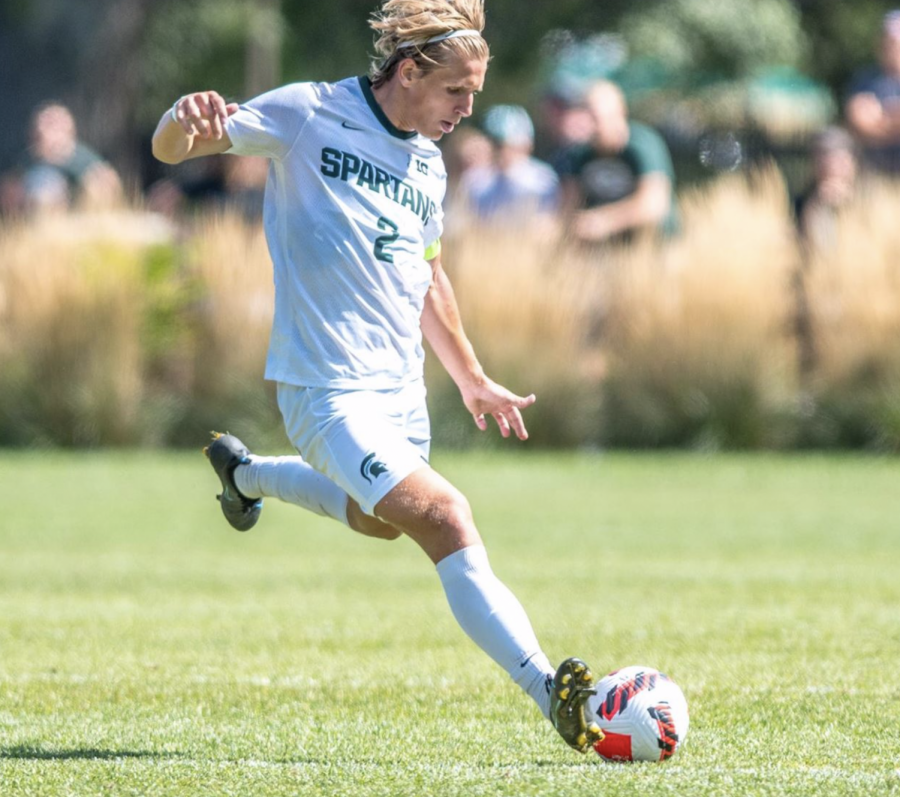 MSU midfielder Jack Beck winds up for a powerful kick during the Spartans 3-0 loss to Bowling Green on Sept. 6, 2021/ Photo Credit: MSU Athletic Communications