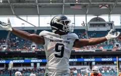 MSU running back Kenneth Walker celebrates after scoring a touchdown in the Spartans 38-17 win over No. 24 Miami on Sept. 18, 2021/ Photo Credit: MSU Athletic Communications