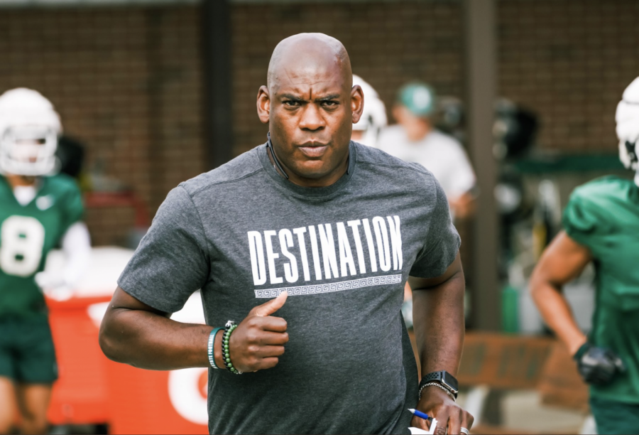 MSU head coach Mel Tucker jogs out to practice in preparation for Nebraska in 2021/ Photo Credit: MSU Athletic Communications