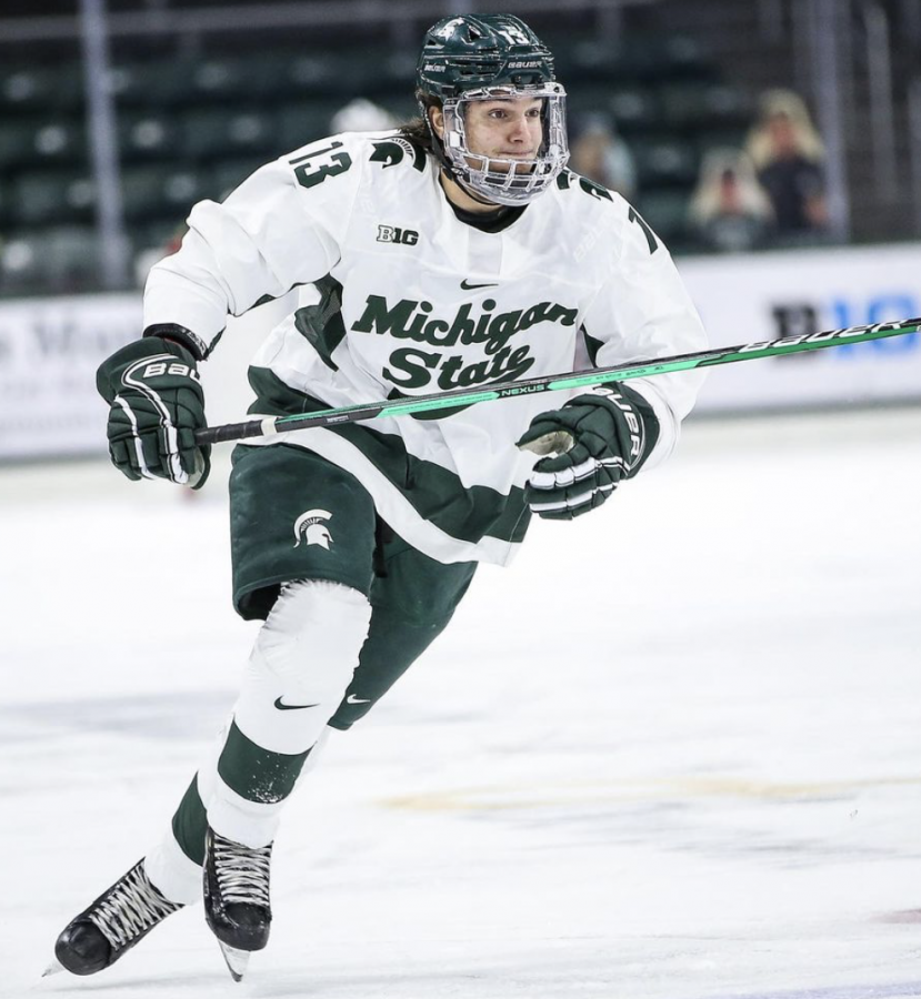 MSU+forward+Kristoff+Papp+skates+during+a+game%2F+Photo+Credit%3A+MSU+Athletic+Communications%0A
