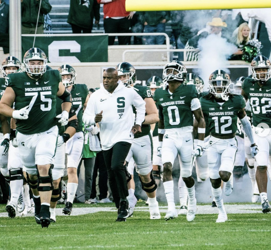 MSU+head+coach+Mel+Tucker+leads+his+team+out+of+the+tunnel+before+the+Spartans+take+on+Nebraska+on+Sept.+25%2C+2021%2F+Photo+Credit%3A+MSU+Athletic+Communications+
