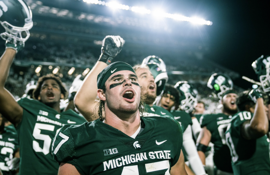 MSU+defensive+end+Jeff+Pietrowski+celebrates+with+his+teammates+after+MSUs+23-20+overtime+win+over+Nebraska+on+Sept.+25%2C+2021%2F+Photo+Credit%3A+MSU+Athletic+Communications+