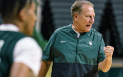 MSU head coach Tom Izzo shouts out orders during the first day of 2021 fall practice/ Photo Credit: MSU Athletic Communications