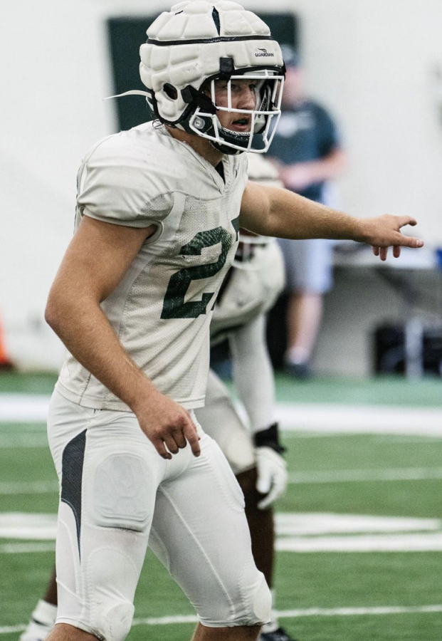 MSU linebacker Cal Haladay calls out defensive coverage directions during 2021 fall practice/ Photo Credit: MSU Athletic Communications