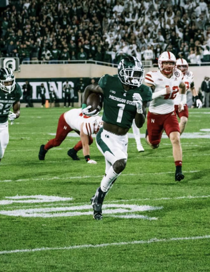 MSU+wide+receiver+Jayden+Reed+returns+a+punt+for+a+62-yard+touchdown+against+Nebraska+on+Sept.+25%2C+2021%2F+Photo+Credit%3A+MSU+Athletic+Communications+