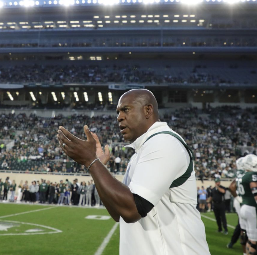 MSU head coach Mel Tucker cheers on his team before the Spartans take on Western Kentucky on Oct. 2, 2021/ Photo Credit: MSU Athletic Communications