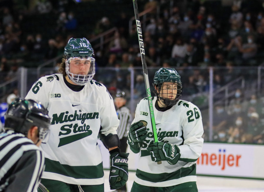 MSU forwards Jesse Tucker (16) and Tanner Kelly (26) skate together during the Spartans 5-1 win over Air Force on Oct. 9, 2021/ Photo Credit: Sarah Smith/WDBM