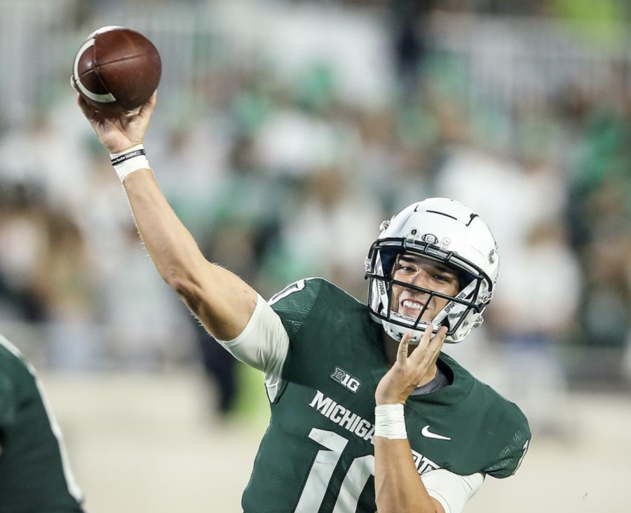 MSU quarterback Payton Thorne winds up for a deep throw in the Spartans 48-31 win over Western Kentucky on Oct. 2, 2021/ Photo Credit: MSU Athletic Communications