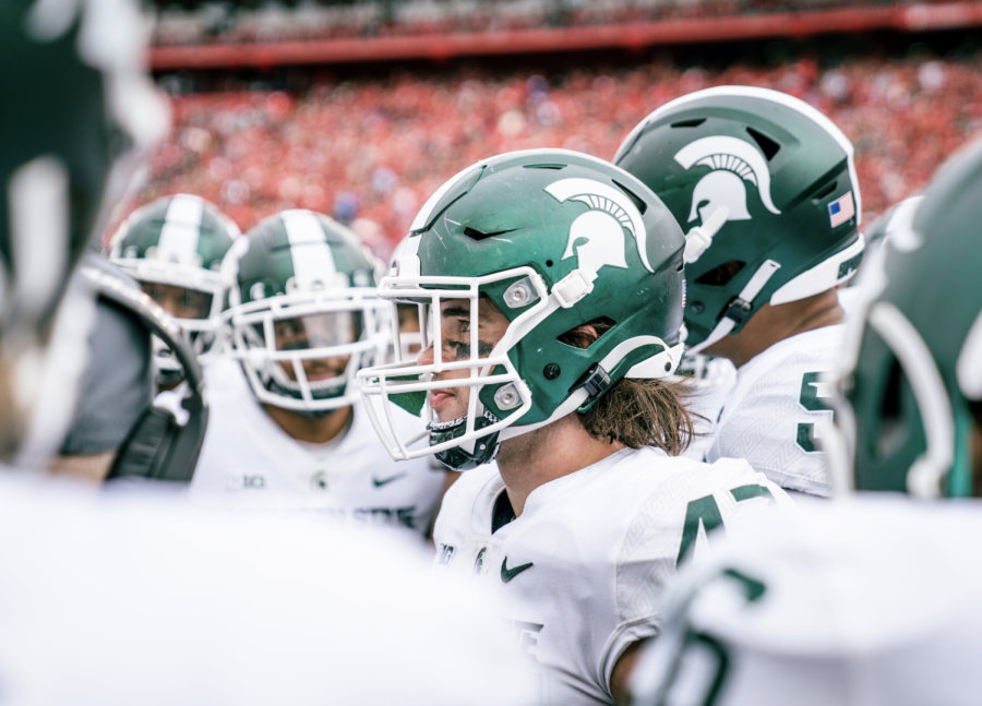MSU defensive end Jeff Pietrowski in the Spartans 31-13 win over Rutgers on Oct. 9, 2021/ Photo Credit: MSU Athletic Communications