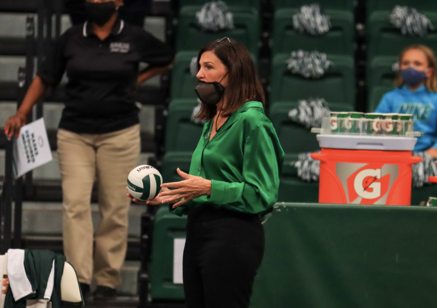 MSU volleyball coach Cathy George looks on in the Spartans 3-0 loss to Wisconsin on Oct. 15, 2021/ Photo Credit: Sarah Smith/WDBM
